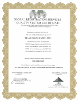 Bearing Service 2017 - 2018 ISO Certification